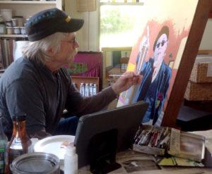 Bruce Goddard painting a self portrait